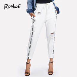 drawstring waist jeans NZ -  Ribbon Letter Ripped Drawstring Denim Jeans 2018 Summer Autumn Women Beige Mid Waist Regular Female Casual Long Pants