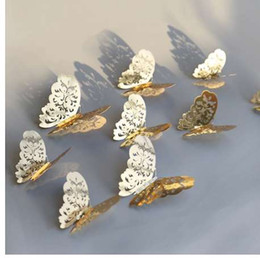 $enCountryForm.capitalKeyWord Australia - 12 Pcs Set 3D Wall Stickers Butterfly Hollow Paper 3Sizes Silver Gold For Fridge Stickers Home Party Wedding Decor F507