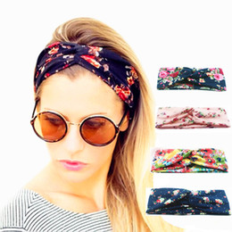 Wholesale Women Twist Turban Floral designer Prints Headband Stretch Sport Yoga Hairbands For Girls Headwrap Bandana Hair Accessories Jewelry