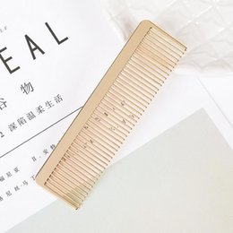 gold hair tone 2019 - Gold Tone Metal Hair Comb Brush Hairdressing Hairbrush EDC Tools - Thin Tooth Outdoor Hair Brushes Home Travel Use disco
