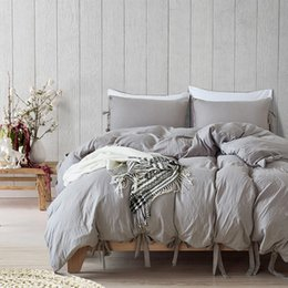 modern single beds NZ - Bow-knot Single Bedding Set Qulit Cover Pillowcases Solid Home Textile cama Bed Set Queen Comforter Sets King Size Bedding Sets
