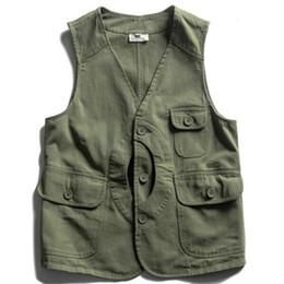 Discount clothes japan - Japan Style Vintage leisure vest solid color Slim jackets high quality the cotton men clothes Pocket decoration