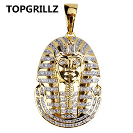 egyptian pendants UK - TOPGRILLZ Hip Hop Jewelry Iced Out Gold Color Plated Micro Pave CZ Stone Egyptian Pharaoh Pendant Necklace Three Chain 24 In