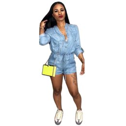 eee62612666 wholesale 2018 New Women s Playsuits Casual Long Sleeve Denim Jeans Shorts  Romper Slim Fit Jumpsuit Summer Plus Size Blue Hot