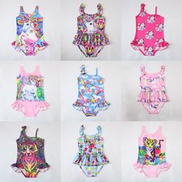 Swimwear Infant Canada - INS Unicorn Swimwear One Piece Tiger Swimsuit Bikini Big Kids Summer Cartoon Infant Swim Bathing Suits Beachwear 12 design LC738-1
