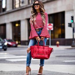 Discount vintage blouse cotton - 2017 Women Vintage Fashion White And Red Striped Shirt Blouses Cotton Blend Tops retro roupas Flare Sleeve femininas shi