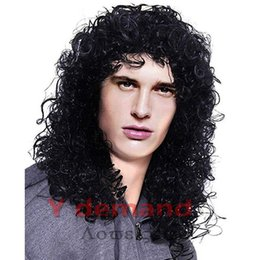$enCountryForm.capitalKeyWord Canada - Y Demand Mens Long Curly Black Hard 80s Rocker Wig Themed Party Wig Halloween Costume Anime Wig