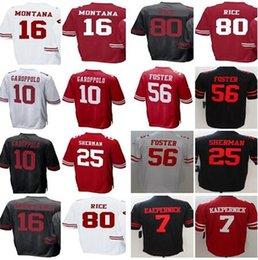 San Francisco 49ers 10 Jimmy Garoppolo 7 Colin Kaepernick Jersey 16 Joe  Montana 25 Sherman 56 Reuben Foster 80 Rice men women youth Jerseys f492038af