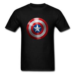 Marvel Shield Canada - Summer America Captain Shield Men Black T Shirt Marvel Hero Logo Tops Custom Mens Own 3D Graphic Tee Shirts 2018