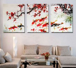 Unframed canvas red flowers online shopping - 3 Piece Plum red flowers Cherry Blossom Koi Fish poster unframed Gallery wrap art print home wall decor wall picture Canvas
