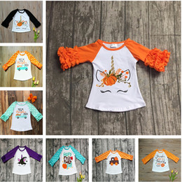 Wholesale Halloween Baby Girl Clothes Fall Girls Ruffled Sleeve T shirts Toddler Baby Unicorn Letter Pumpkin Car Cotton Raglan Tops Kids Clothing