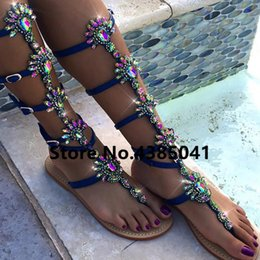 b1e4ca60ea603 Bohemia Style Summer Flats Sandal Gladiator Gold Rhinestone Knee High Buckle  Strap Woman Boots Crystal Beach Shoes Plus size 43