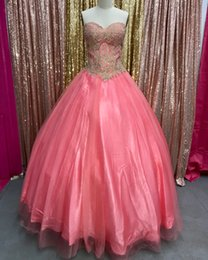 Sweethearts Ball Australia - Water Melon Ball Gown Quinceanera Dresses 2019 Sweetheart Gold Appliqued Crystals Sleeveless Organza Sequins Sweet 16 Prom Pageant Gowns