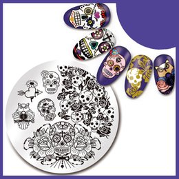 $enCountryForm.capitalKeyWord NZ - 1Pc Nail Stamping Plate SKull Rose Pattern 5.5cm Round Manicure Nail Art Image Plate 5 Patterns