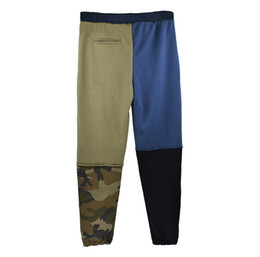 Wholesale men working pants for sale – dress Men Patch Work Pant Half Blue Half Camouflage Fashion New Tide Pants Male Skateboard Hip Hop Capris