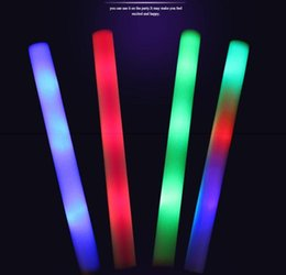 Foam stick baton online shopping - LED Glow light Up Foam Stick toys Color Led Foam glow stick Wedding Party Decoration Toys quot LED Wands Rally Batons DJ