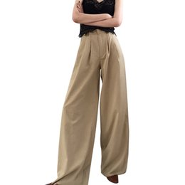 womens wide leg trousers UK - Fashion High Waist Wide Leg Pants Women Loose Casual Summer Trousers Womens Full Length Palazzo Pants