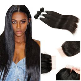 Wholesale Straight Virgin Hair Bundles With Lace Closure A Brazilian Human Hair Weave Bundles With Silk Base Closure Free Middle Three Part