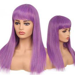 Parrucca sintetica lunga parrucca viola con parrucche sintetiche resistenti al calore in Offerta