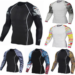 $enCountryForm.capitalKeyWord NZ - Mens Fitness Long Sleeves Rashguard T Shirt Men Bodybuilding Skin Tight Thermal Compression Shirts MMA Crossfit Workout Top Gear