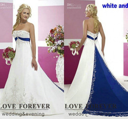 plus side strapless wedding dresses Australia - Plus Size strapless lace-up corset Wedding Dresses Silver Embroidery On Satin White and Royal Blue Floor Length Bridal Gowns Custom Made