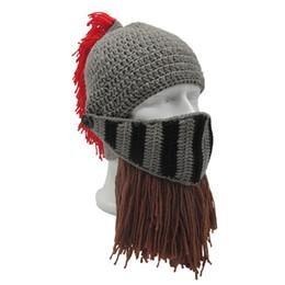 funny ski hats 2019 - Unisex Roman Helmet Barbarian Knight Knit Beard Hat Handmade Winter Warm Ski Face Mask Funny Beanie Cosplay Ski Cap chea