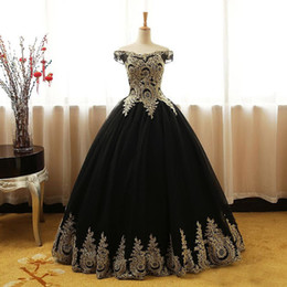 Wholesale 2018 Black Gold Lace Tulle Quinceanera Dresses Plus Size Off Shoulder Corset Puffy Sweet Ball Gown Prom Dress Dubai Evening Party