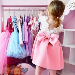 Fly Beach Canada - INS Girls Dresses Summer Baby Clothes Fly Sleeve Lace Bowknot Backless Elegant Princess Wedding Dress Festival Party Dress Skirt 224