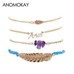 Gold bracelet fish desiGn online shopping - New Design Vintage Style Leaf Crystal Handmade Rope Link Bracelet Gold Color Women Chain Link Wrap Bracelet Cadeia Pulseira Set