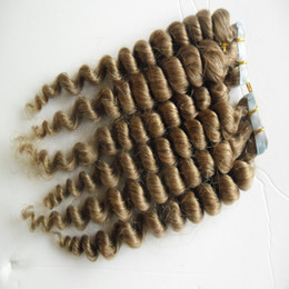 "Discount tape hair extensions dark auburn - Light Brown Remy Tape Hair Extensions 40pcs lot loose wave Skin Weft Human Hair Machine Made Remy 16"" 18"" 20&q"