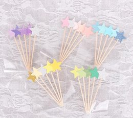 $enCountryForm.capitalKeyWord Australia - New 300pcs Cupcake Toppers Golden Mix Color Star Paper Cake Toppers Children Favors Decorations For Wedding Baby Shower