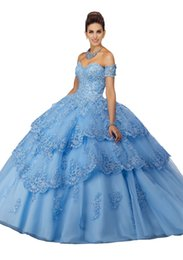 make up models UK - Ruffles Prom Dresses Quinceanera Dress 2019 Off The Shoulder Cap Sleeve Lace Applique Beads Sequin Graduation Dress Cheap Ball Gowns Prom