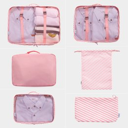 Packing Clothes For Storage NZ - pink Storage bag 6PCS Set waterproof Oxford Cloth Travel Mesh Bag In Bag Luggage Organizer Packing Cube Organiser for Clothing wholesale