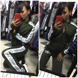 Discount soccer series - 2018 New Women Tracksuits Printing Letter Long Sleeve Dark Color Series Suits Cardigan Hoodie + Pants 2 Pcs Set Outfit S