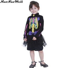 Discount kids scary costumes - Halloween Colorful Printed Cute Skeletone Halloween Costume for Kids Witch Animal Princess Girl Children Scary Clown Cos