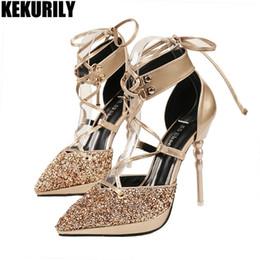 4c2b134d0 Mulheres Sapatos Glitter Bling Lace up Bombas Gladiador Pontas Do Dedo Do  Pé Sandálias Slides De Salto Alto Zapatos mujer Preto Prata Marrom De Ouro