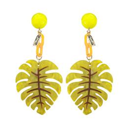 $enCountryForm.capitalKeyWord UK - Leaves Chandelier Earrings Luxury Gold Color Drop Earrings For Women Huge Acrylic Earrings Fashion Jewelry For Women Wedding Engagement