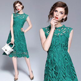 $enCountryForm.capitalKeyWord NZ - Sundress Women Party Dress Solid Elegant Sleeveless Casual Lace Dresses Hollow Out Green A Line Dresses