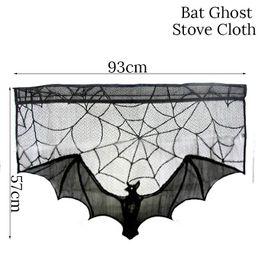 $enCountryForm.capitalKeyWord Australia - Wholesale 1 PCS 93x57cm Halloween Party Lace Fireplace Cloth Tablecover Black Bat Spider Web Mantle Scarf Spirit Festival Decoration