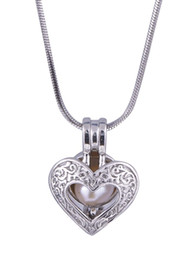 Carving For Wedding Gift NZ - Carve Heart pearl plated sliver cage Locket Pendant Hollow Heart Lovers Gift for Bridal Wedding P64