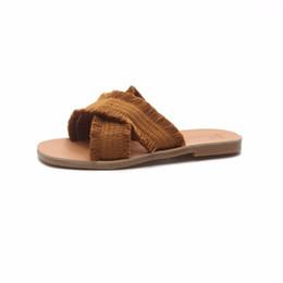 $enCountryForm.capitalKeyWord NZ - summer fashion wild cross-fabric tassels decorated solid color comfortable flat-bottomed women wear slippers