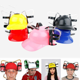 Green Plastic Straws Australia - Beverage Helmet Drinking Beer cola Coke Soda Miner Hat Lazy lounged Straw Cap Party Cool Unique Toy Prop Holder Guzzler Ball Caps