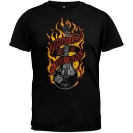 China Johnny Cash - Guitar Flames Adult Mens T-Shirt Funny free shipping Unisex Casual tee gift supplier white flame guitars suppliers