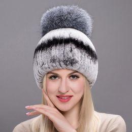 0616600e6a5 Autumn Winter Real Rabbit Fur Hat Female Natural Furry Fox Hair Ball  Russian Hat New Winter Warm Real Rabbit Fur Fashion New