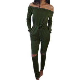 2bba857080a Army green plus size jumpsuits women online shopping - Sexy Slash Neck Long  Rompers Pants Suit