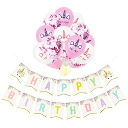 Discount theme party supplies wholesale - 8 Styles Unicorn Party Supplies Birthday Decorations Favors Baby Girl Unicorn Theme Party Ballon Pull Flower Set