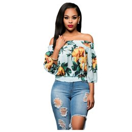 Chinese  Women Clothes Plus Size Blouse Tops Desinger Sexy flower girl Loose Off Shoulder Floral Print Short T-shirt Ladies Summer Wear manufacturers