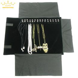 $enCountryForm.capitalKeyWord NZ - Classiaal Black Velvet Organizer Jewelry Display Rolls Travel Storage Portable Bag Folding For Pendant Necklace Stand Holder