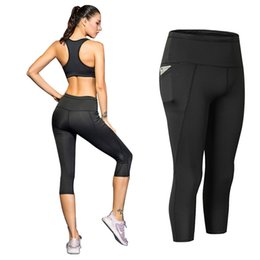 $enCountryForm.capitalKeyWord UK - 3 4 Yoga Pant With Pocket Quick Dry 3 4 Sports Pants Breathable Fitness Tights Splicing Sport Leggings For Women