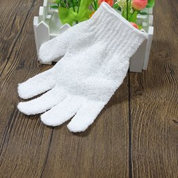 nylon bath glove Canada - 2018 white nylon Shower Bath Gloves Exfoliating Wash Skin Spa Massage
